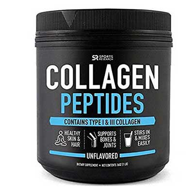 Sports Research Collagen Peptides Powder Unflavored Grass-Fed, Non-Gmo and Gluten Free