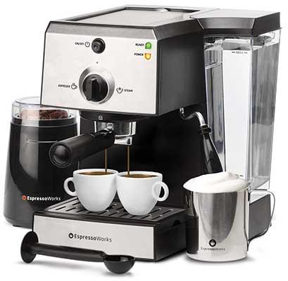 7 Pc All-in-One Espresso and Cappuccino Maker Machine Barista Bundle Set