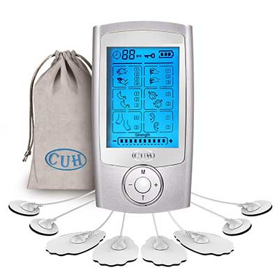 CUH 16 Modes Rechargeable TENS Unit with 8 Pads Portable Electronic Pulse Massager