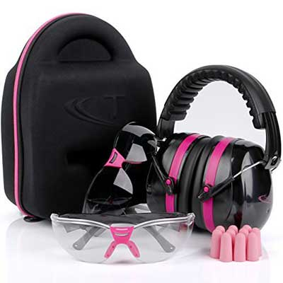 TRADESMART Pink Ear Muffs, Earplugs, Gun Safety Glasses and Protective Case