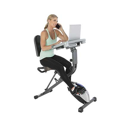 Exerpeutic Exerwork 1000 Fully Adjustable Desk Folding Exercise Bike