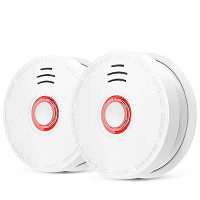 2 Pack Photoelectric Smoke Detector and Alarm, Battery-Operated