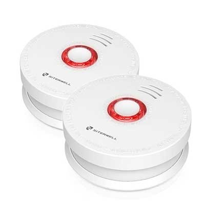 2 Pack SITERWELL Smoke Detector and Battery Operated Smoke and Fire Alarm
