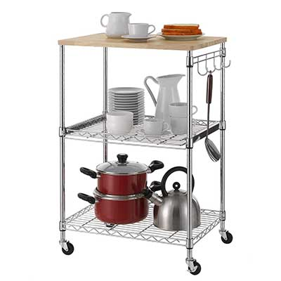 Finnhomy 3-Tier Wire Rolling Kitchen Cart