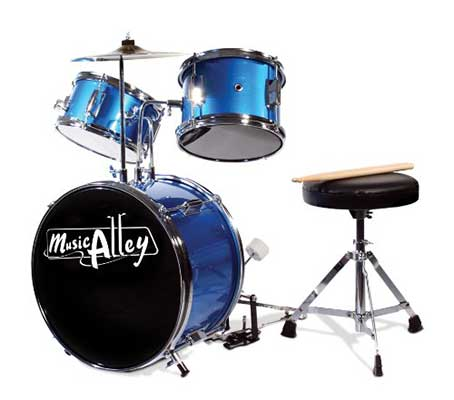 Music Alley DBJK02 Kids 3 Piece Beginners Drum Kit, Blue