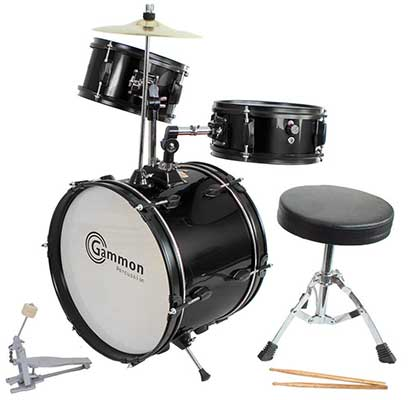 Drum Set Black Complete Junior Kid's Children Size with Cymbal Stool Sticks