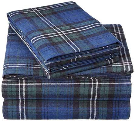 Pianzon 160 Gram Plaid Flannel Sheet Set