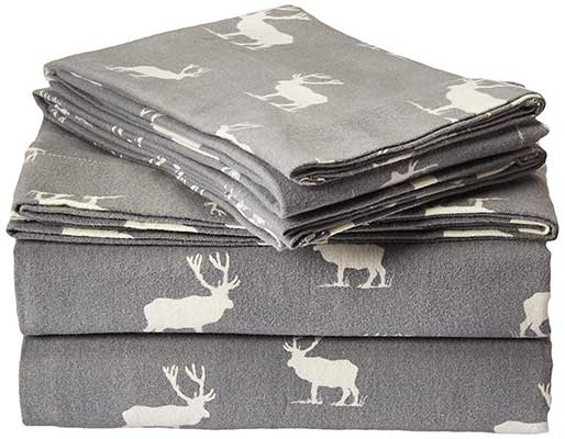 Eddie Bauer 216297 Elk Grove Flannel Sheet Set, Queen Gray