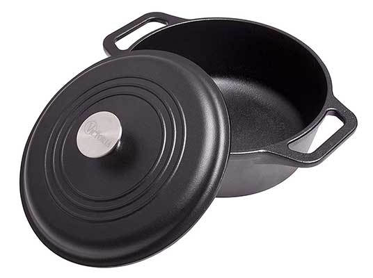 Victoria DUT-304 Pre-Seasoned Cast Iron Dutch Oven with Lid