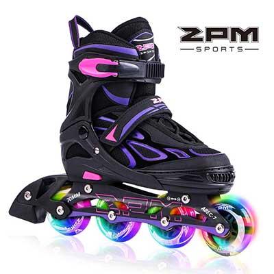 2 PM SPORTS Vinal Girls Adjustable Inline Skates with Light Up Wheels