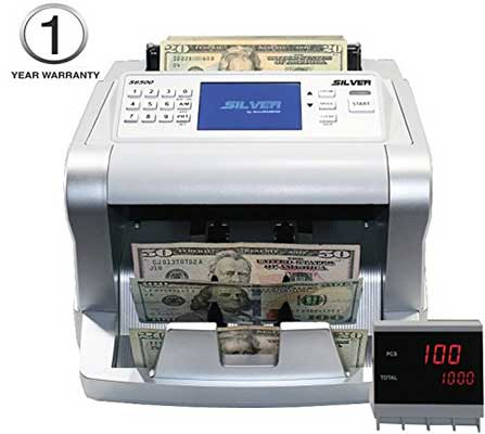 New Silver by AccBANKER S6500 Cash Counter Money Counter Machine