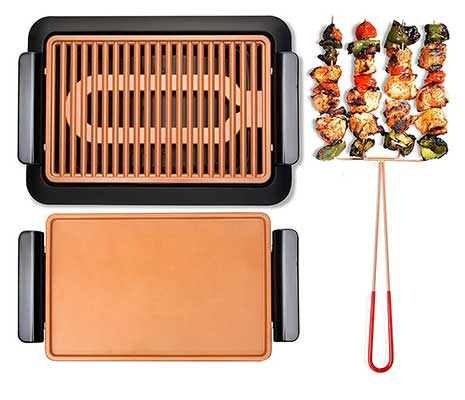 GOTHAM STEEL Smokeless Electric Grill, Griddle, and Pitchfork