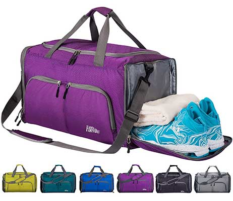 FANCYOUT Foldable Sports Gym Bag Shoes Compartment and Wet Pocket