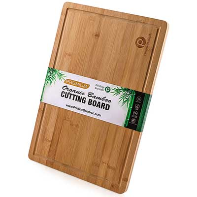 EXTRA LARGE ORGANIC Bamboo Cutting Board w/Handles and Juice Grooves