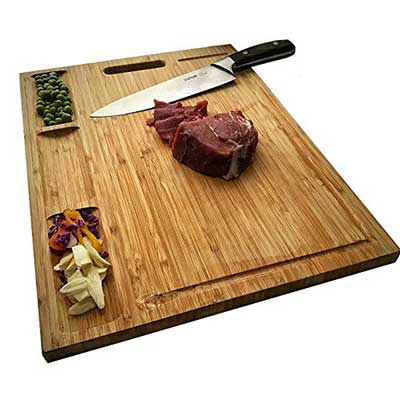 HHXRISE Venfon Large Organic Bamboo Cutting Board for Kitchen