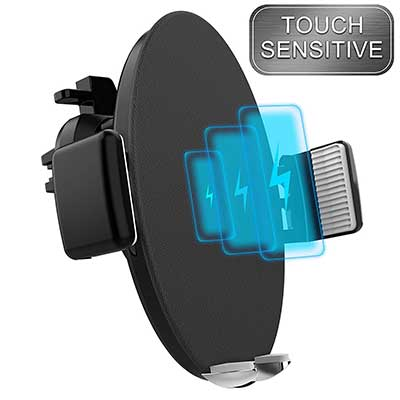 Touch Sensitive Car Mount Wireless Charger Qi Fast Wireless Car Charger