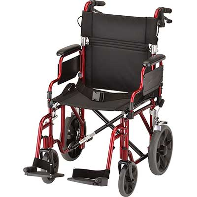 NOVA Lightweight Transport Chair with Locking Hand Brakes 12-inch Rear Wheels