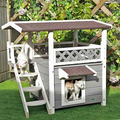 Pesfit 2-Story Outdoor Weatherproof Cat House