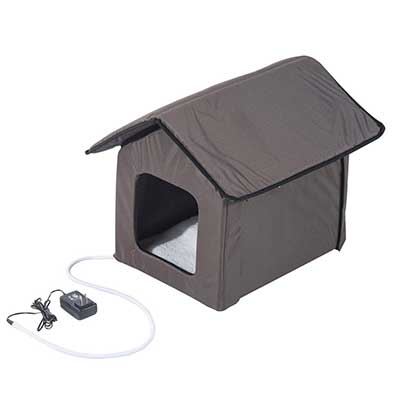 PawHut Small Indoor Outdoor Portable Water-Resistant Heated Cat House