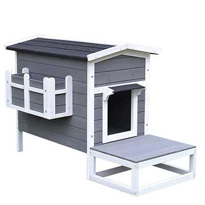 PawHut Wooden Large Deluxe Elevated Indoor/Outdoor Cat House
