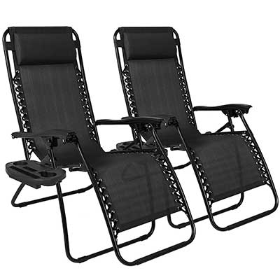 Best Choice Products Set of 2 Adjustable Zero Gravity Lounge Chairs
