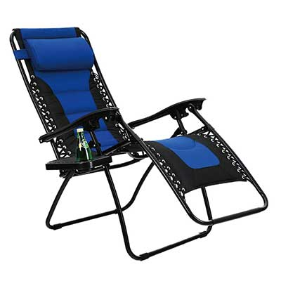 PHI VILLA Padded Zero Gravity Lounge Chair Patio