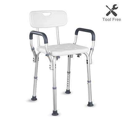 HAIRBY Shower Chair with Arms and Back Adjustable Height