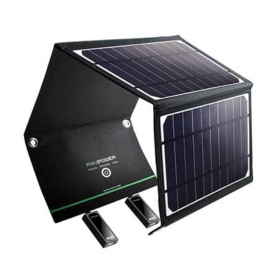 RAVPower Solar Charger 16W Solar Power with Dual USB Port