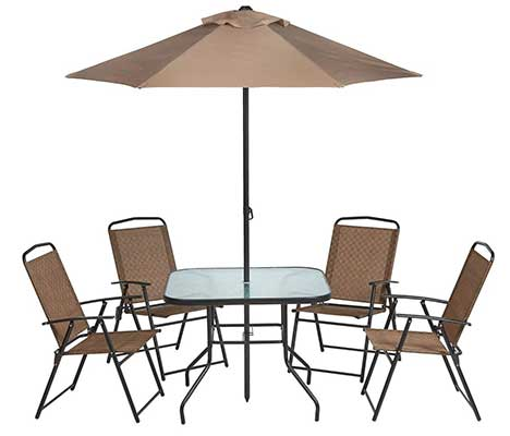 Outdoor 6-Piece Folding Patio Dining Furniture Set