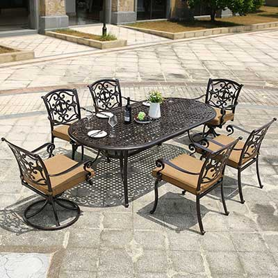 DOMI OUTDOOR LIVING Aluminum 7-Piece Patio Dining Set