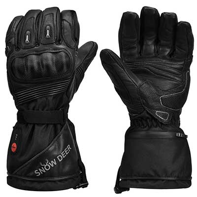 Heated Motorcycle Gloves, 7.4V 2200MAH Electric Rechargeable Gloves