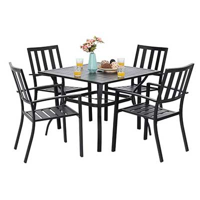 PHI VILLA 5 Piece Metal Patio Dining Set