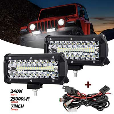 7 Inch LED Light Pods, 2 Pcs 240W Spot Flood Combo Beam