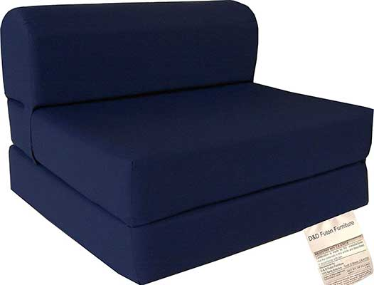 D&D Futon Furniture Navy Sleeper Chair Folding Foam Bed