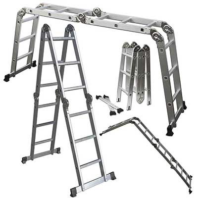 OxGord Dual Height Aluminum Folding Ladder