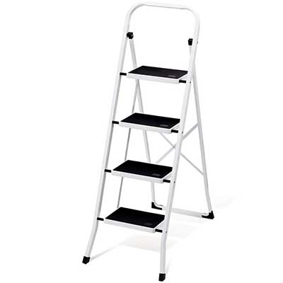 Delxo Folding 4 Step Ladder with Convenient HandGrip