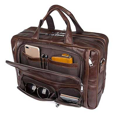Augus Travel Genuine Leather Duffel Briefcase