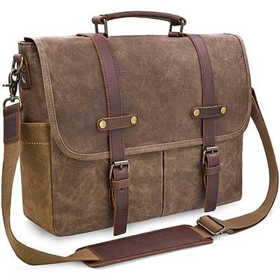 NEWHEY Men's' Bag 15.6'' Waterproof Vintage Briefcase