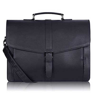 Estarer Men's Leather Briefcase 15.6'' Laptop Messenger Bag