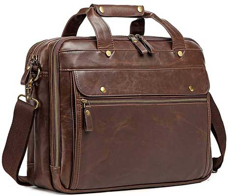 Bosidu Leather Men Briefcase Laptop Bag