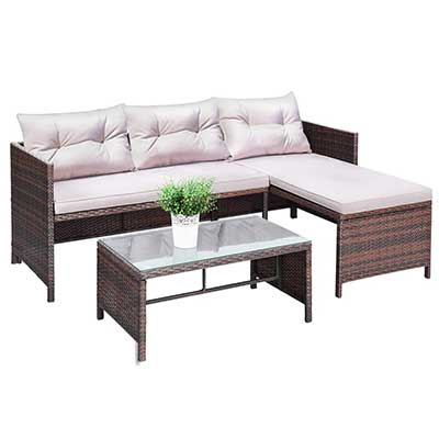 Tangkula 3 PCS Outdoor Rattan Furniture Sofa Set