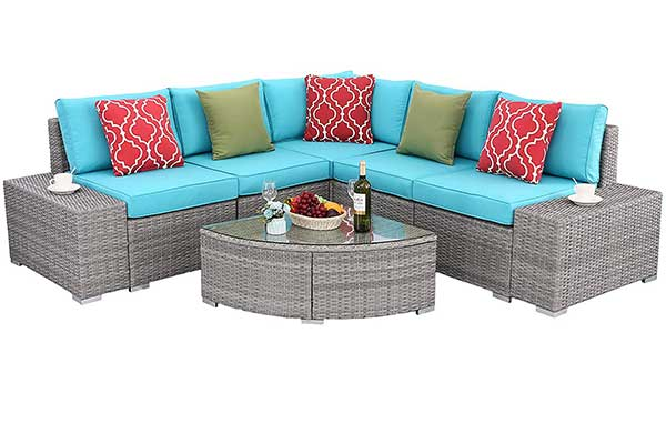 Do4U PCs Outdoor Patio PE Rattan Wicker Sofa
