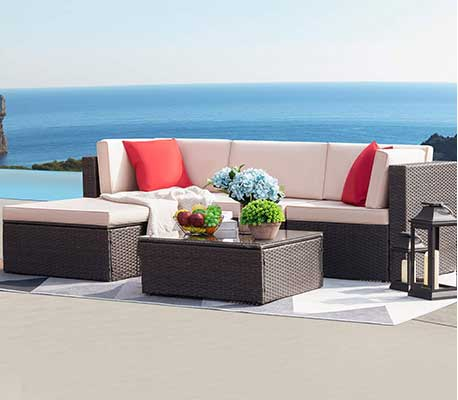 Devoko 5 Pieces Patio Furniture Sets All-weather Outdoor Sofa