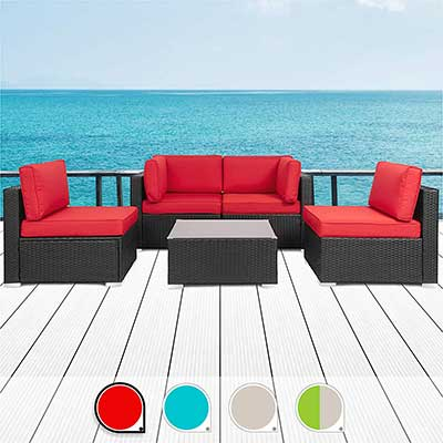 Walsunny 5pcs Patio Outdoor Furniture Sets