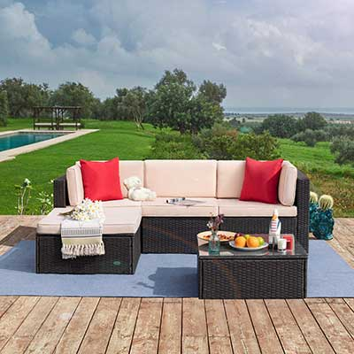 Tuoze 5 Pieces Patio Furniture Sectional Sofa Set