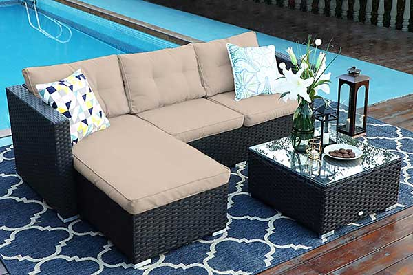 3 Piece Outdoor Furniture Sectional Sofa Patio Set
