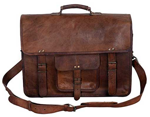 KPL 18 Inch Vintage Men's Brown Handmade Leather Briefcase