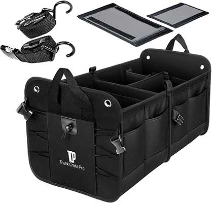 Trunkcratepro Collapsible Portable Multi-Compartment Trunk Organizer