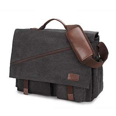 Messenger Bag for Men, Water Resistant Canvas