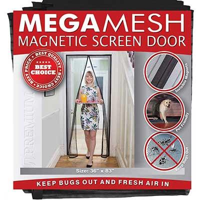 MegaMesh Magnetic Screen Door, Black